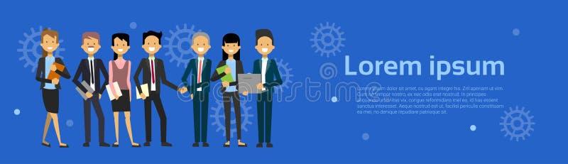 Team Of Modern Businesspeople Business-Mann und Frauen-Karikatur, die über Hintergrund mit Kopien-Raum-horizontaler Fahne steht vektor abbildung