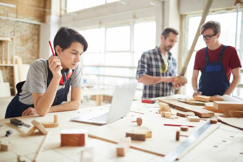 Team of Modern Carpenters Working on Project royalty free stock photos