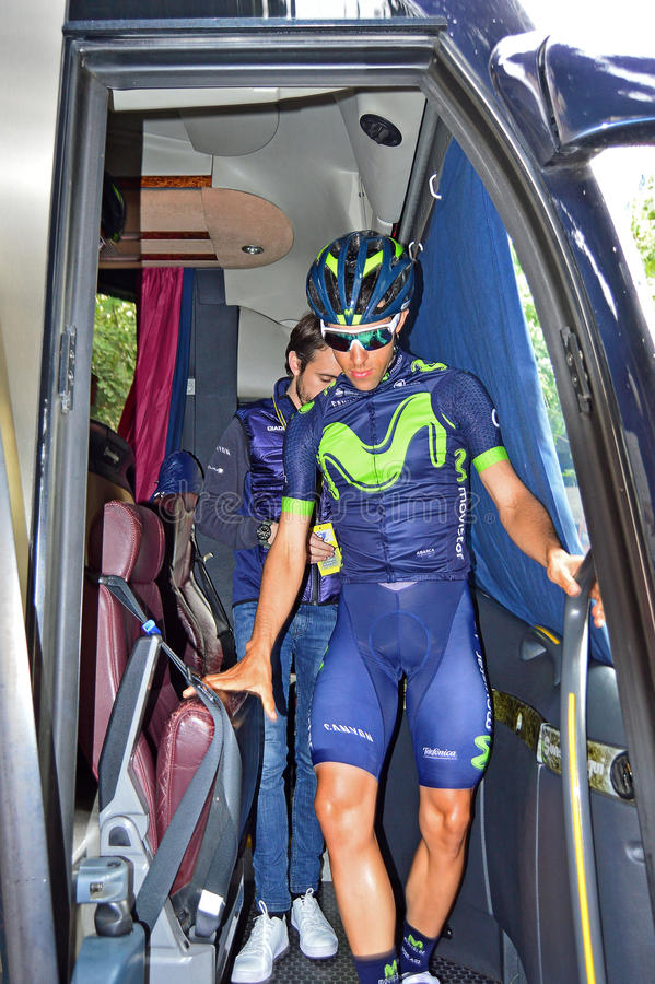 Team Movistar Rider royalty free stock photos