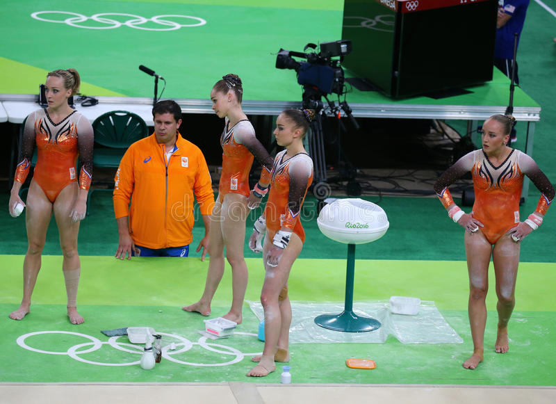 Team Netherlands during an artistic gymnastics training session for Rio 2016 Olympics at the Rio Olympic Arena. RIO DE JANEIRO, BRAZIL - AUGUST 4, 2016: Team stock images