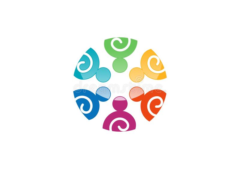 Team o logotipo do trabalho, rede social, projeto da equipe da união, vetor do logotype do grupo da ilustração ilustração stock