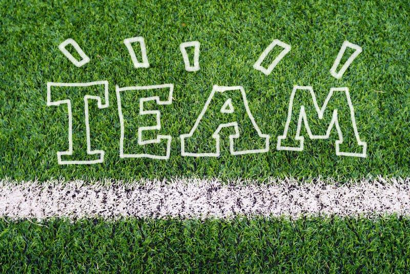 TEAM o texto da escrita da mão na grama do campo de futebol ilustração do vetor