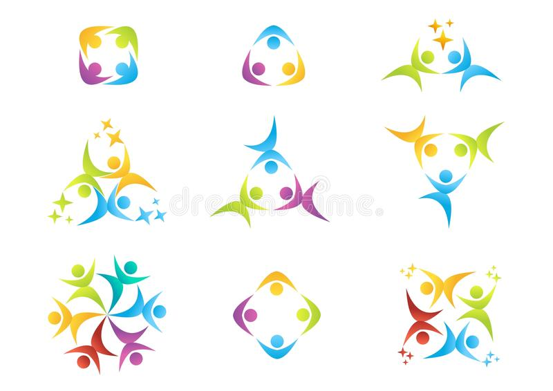 Team o trabalho, logotipo, educação, pessoa, celebração, símbolo do sócio, ícone de grupo ilustração stock
