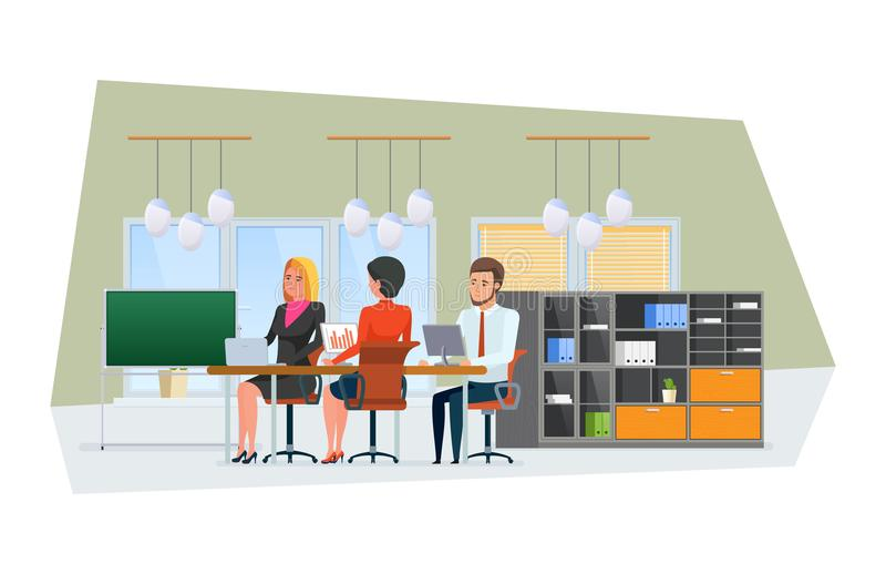 Team och att arbeta kollegor, partners, teamwork Inre kontorsutrymme med möblemang vektor illustrationer