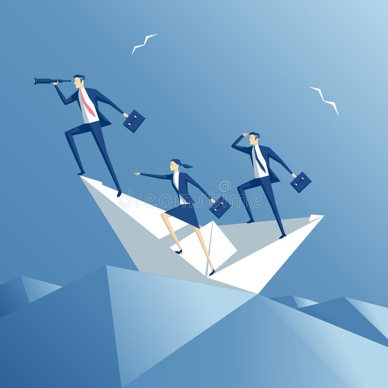 Team and paper boat vector illustration