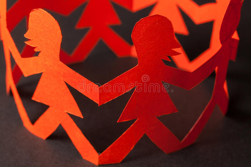 Download Team Of Paper Doll People Holding Hands Stock Photo - Image of meeting, company: 39514300