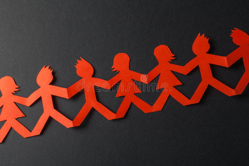 Download Team Of Paper Doll People Holding Hands Stock Photo - Image of community, network: 39514606