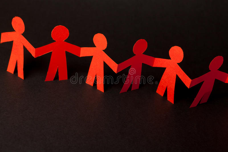 Download Team Of Paper Doll People Holding Hands Stock Image - Image of company, humanity: 39514729
