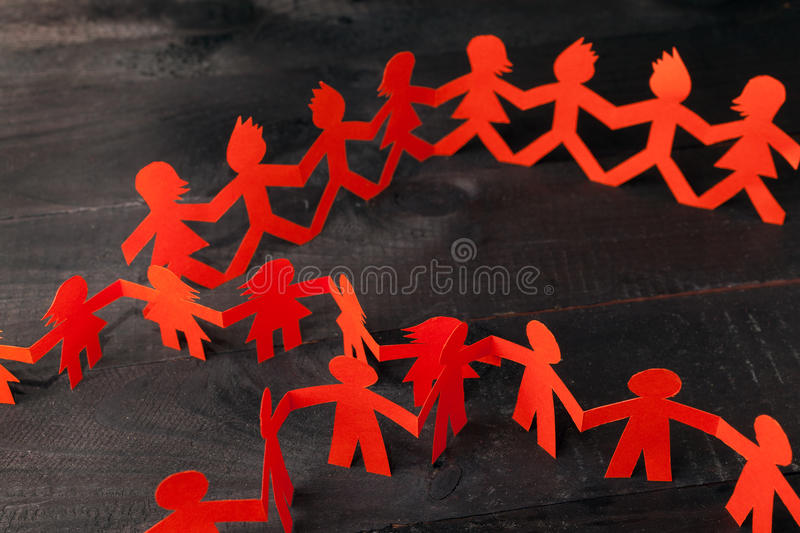 Download Team Of Paper Doll People Holding Hands Stock Image - Image of culture, isolated: 39515207