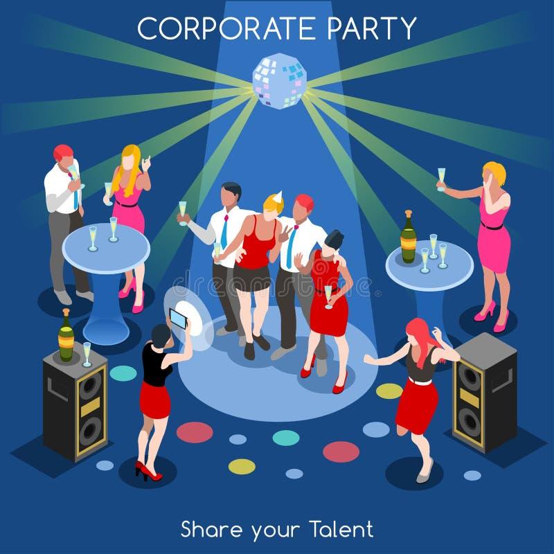Team Party 01 isometriska personer stock illustrationer