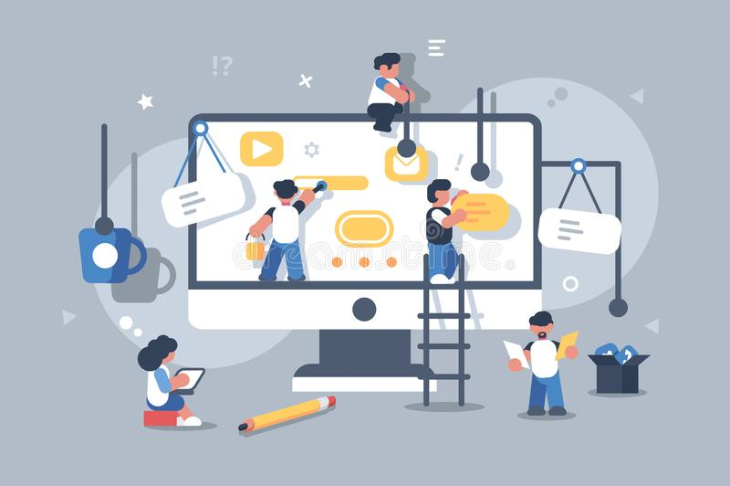 Team of people building or designing computer app. royalty free illustration