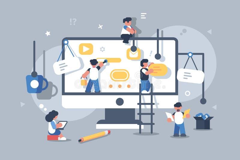 Team of people building or designing computer app. Website application creative design development concept. Teamwork strategy. Flat. Vector illustration royalty free illustration