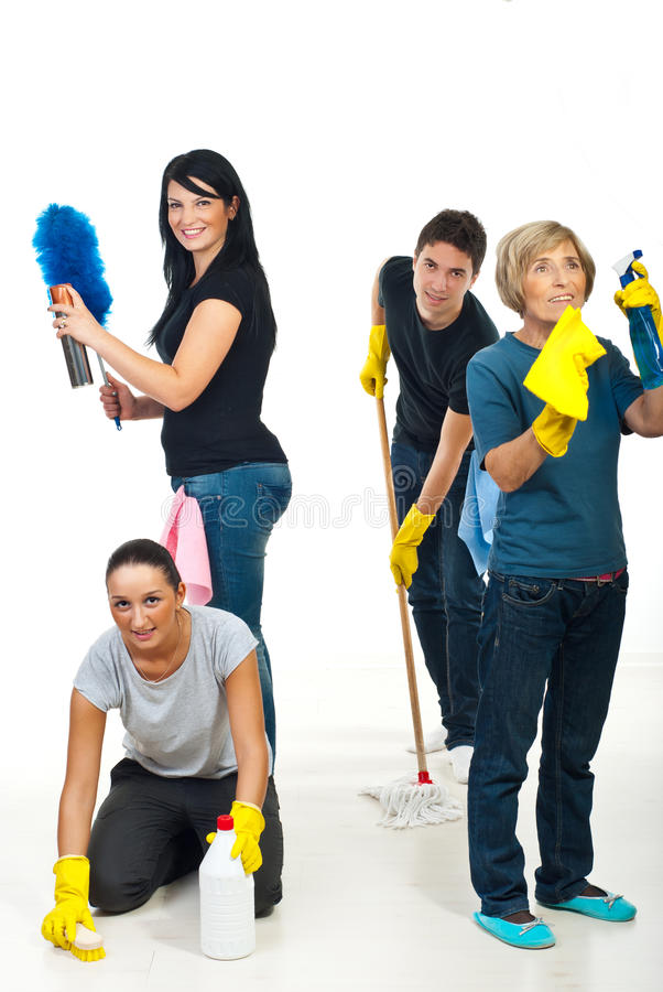 Team of people cleaning your house royalty free stock images