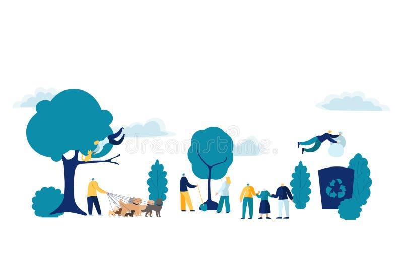 Team People Doing volontärarbete Ställa upp som frivillig, välgörenhet och begrepp för ekologivektorillustration - le för grupp s vektor illustrationer