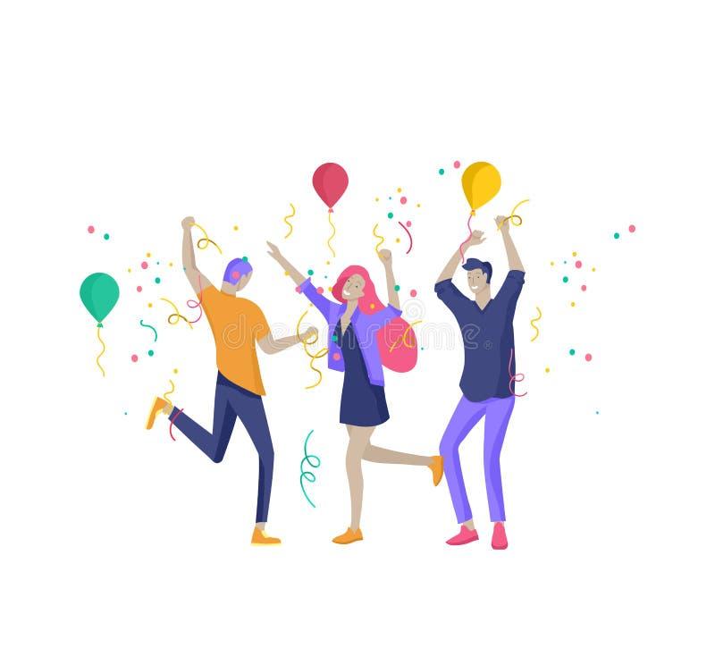 Team People-het bewegen zich Bedrijfsuitnodiging en collectieve partij, ontwerp trainingscursussen, over ons, deskundigenteam, ge stock illustratie