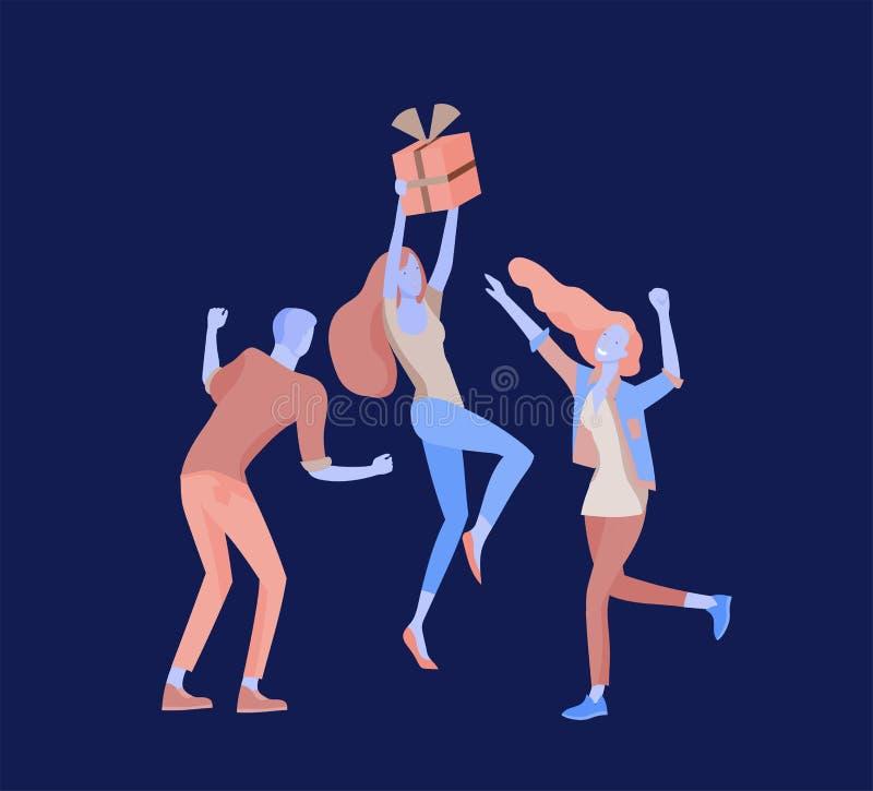 Team People-het bewegen zich Bedrijfsuitnodiging en collectieve partij, ontwerp trainingscursussen, over ons, deskundigenteam, ge royalty-vrije illustratie