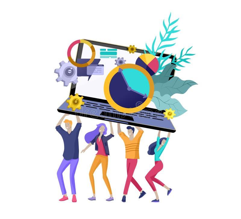 Team People-het bewegen zich Bedrijfsuitnodiging en collectieve partij, ontwerp trainingscursussen, over ons, gelukkig deskundige vector illustratie