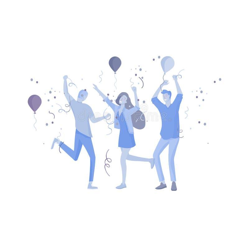 Team People-het bewegen zich Bedrijfsuitnodiging en collectieve partij, ontwerp trainingscursussen, over ons, gelukkig deskundige royalty-vrije illustratie