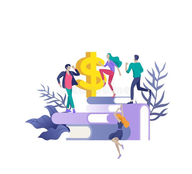 Team People-het bewegen zich Bedrijfsuitnodiging en collectieve partij, ontwerp trainingscursussen, over ons, gelukkig deskundige stock illustratie