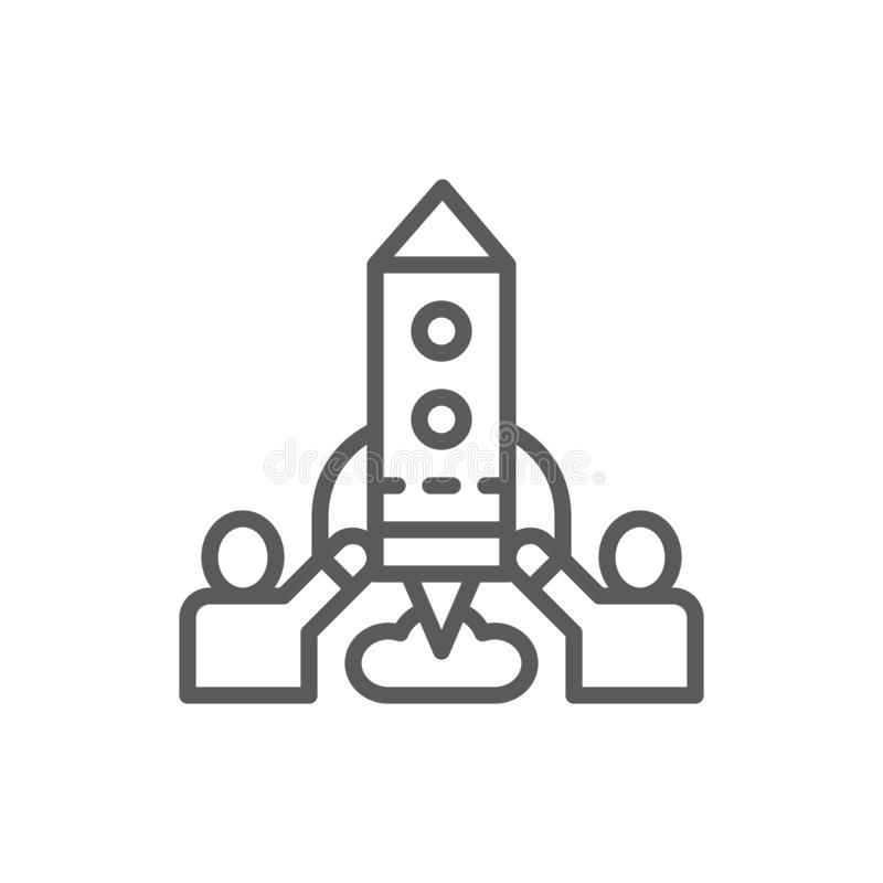 Team of people launches rocket, startup line icon. vector illustration