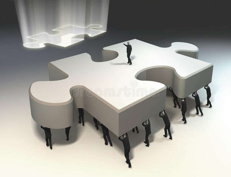 Teamwork and leadership for puzzle piece stock illustration