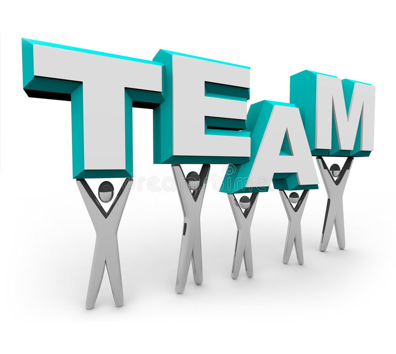 Team of People Lifting the Word. A team of people works together to raise the word Team vector illustration