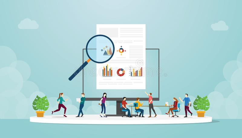 Team of People man and woman studying of learn infographic data information With modern flat Style - vector stock illustration