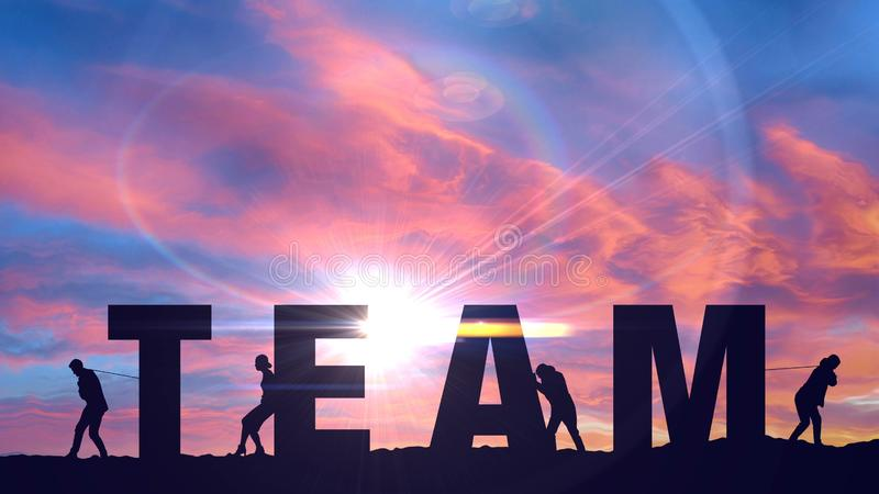 Team of people moving letters, teamwork corporate concept joined forces together. Stock photo stock illustration