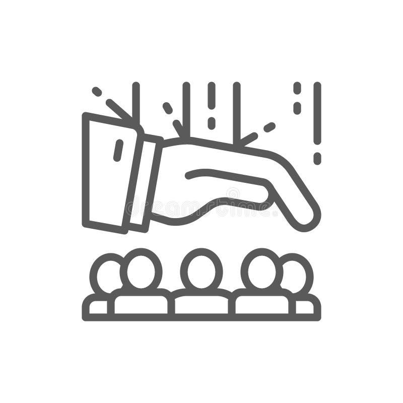 Team of people under leadership line icon. vector illustration