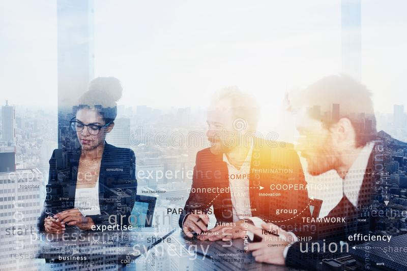 Team of people work together. concept of teamwork and partnership. Most important business terms in overlay stock image