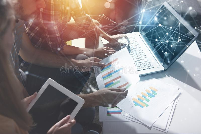 Team of business person works together. Concept of teamwork. Double exposure with internet connection network effects. stock image