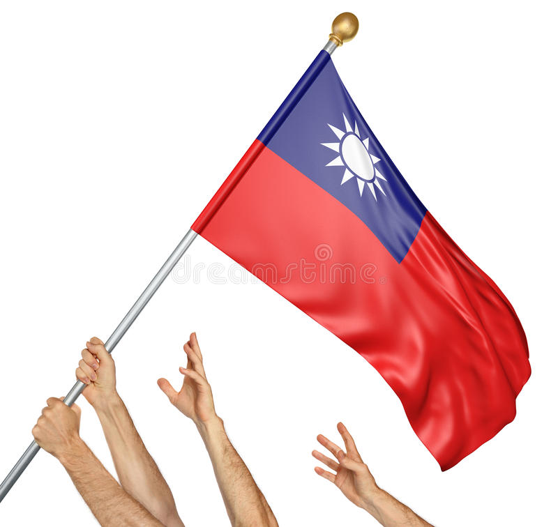 Team of peoples hands raising the Taiwan national flag royalty free illustration