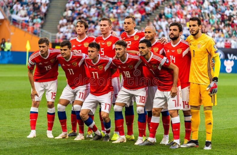 Team photo of Russia national football team ahead of UEFA Euro 2020 qualification match Russia vs San Marino. Saransk, Russia – June 8, 2019. Team photo stock photos