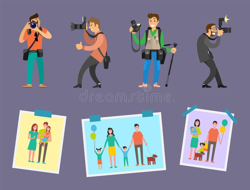 Team of Photographers with Professional Equipment. Camera gears and tripod vector. Samples of works, family pictures with mother, father, child and pet vector illustration