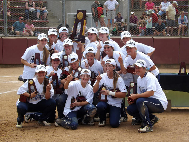 Team Picture of Central Oklahoma, the NCAA Division 2 Softball Champion 2013. Central Oklahoma celebrates winning the NCAA division 2 Championship game in Salem stock images
