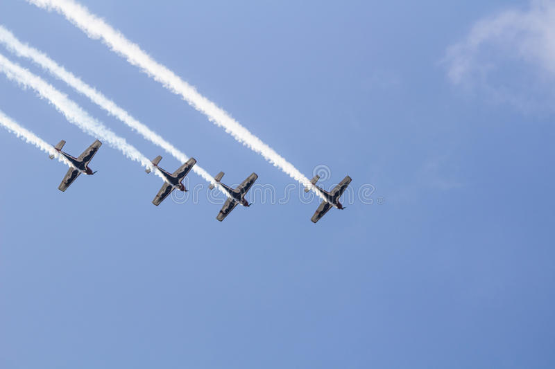 Team Pionner Aerobatic Show. Istanbul, Turkey, August 1, 2015: Italian aerobatic group Team Pioneer performing their special Show on TATCA Fest stock photography
