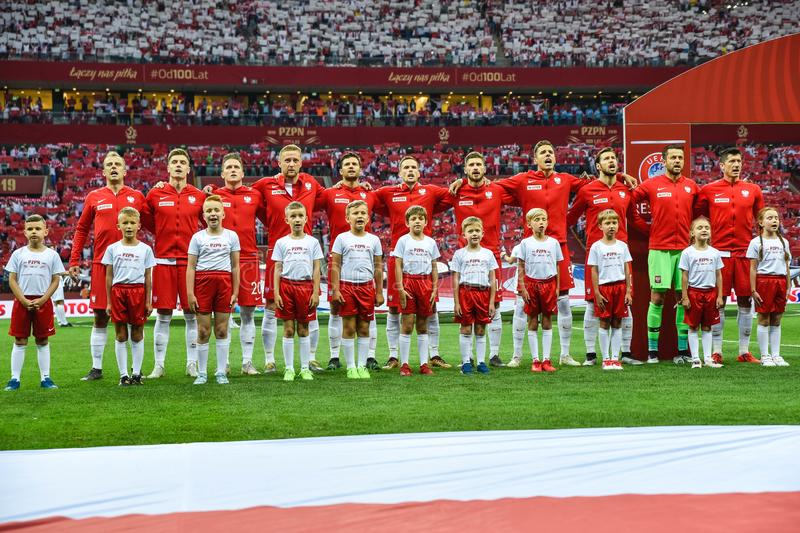 Team of Poland during anthem. WARSAW, POLAND - JUNE 10, 2019: Qualifications Euro 2020  match Poland - Israel 4:0. Team of Poland during anthem stock photos
