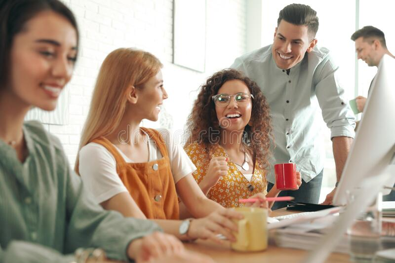 Team of professional designers working. In office royalty free stock photos