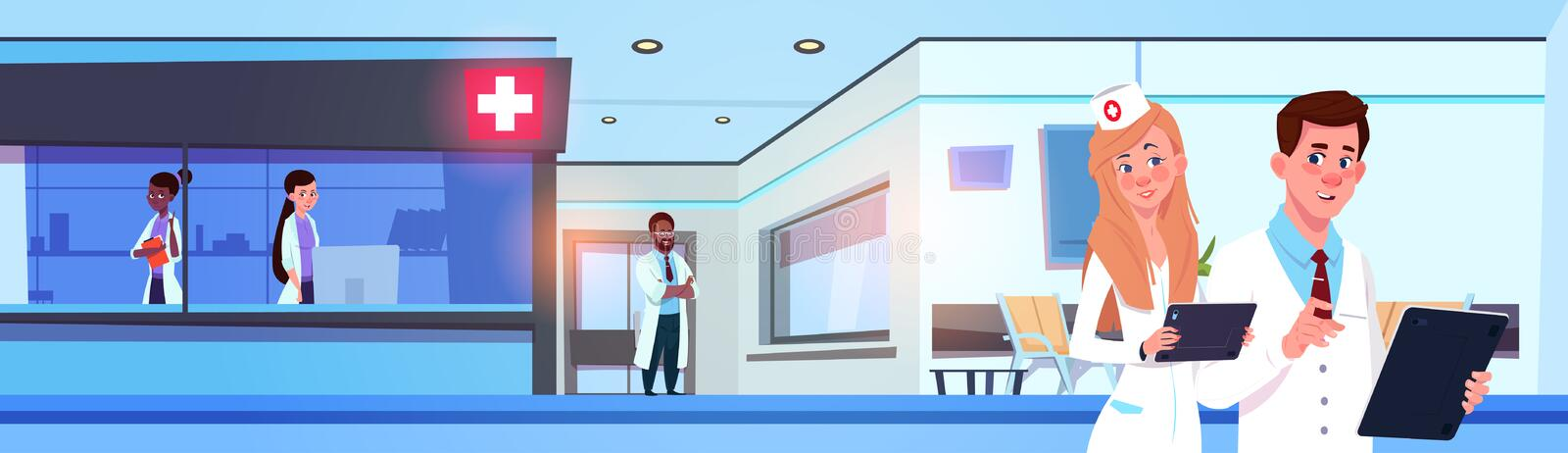 Team Of Professional Doctors In Modern Hospital Or Clinic Working Horizontal Banner royalty free illustration