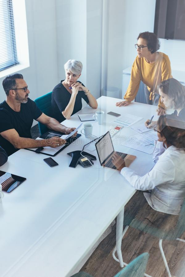 Business team having a brainstorming meeting royalty free stock photos