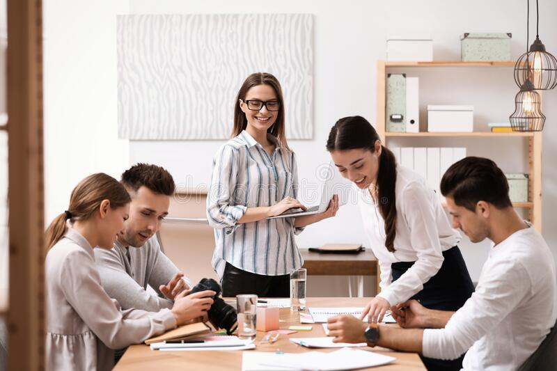 Team of professional journalists working royalty free stock photo