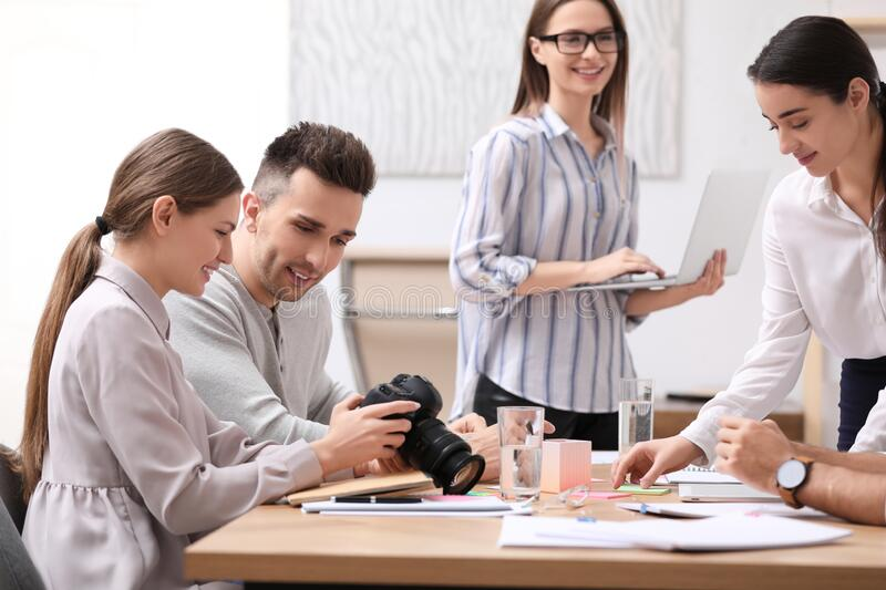 Team of professional journalists working royalty free stock images
