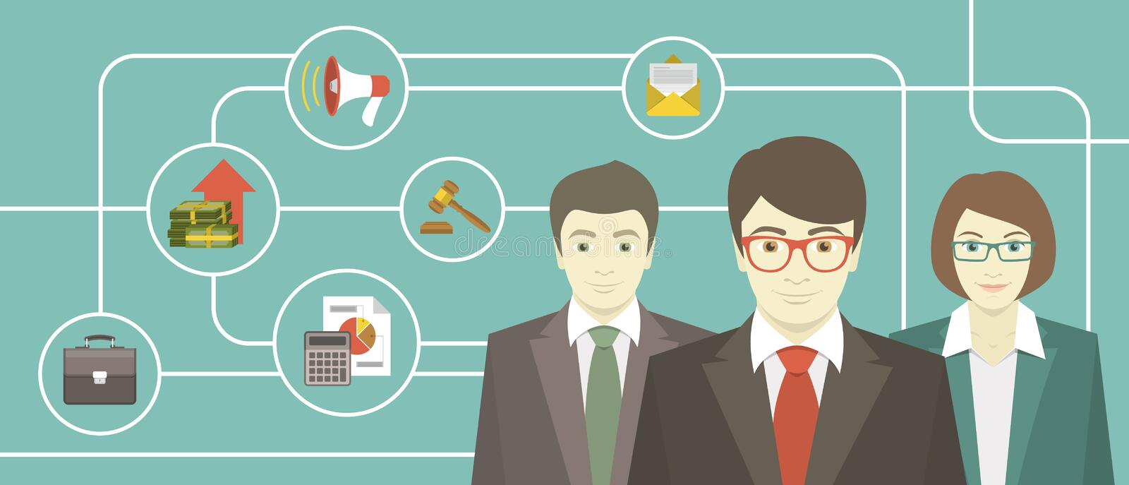 Team of Professionals stock illustration