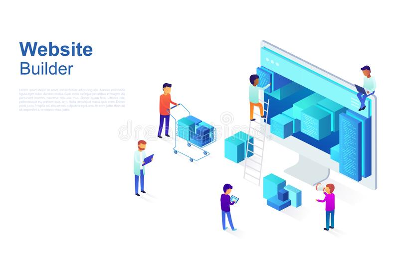 Team of programmers makes web page design, site structure. Business concept of developing UI / UX design, Seo optimization. Isomet. Ric vector illustration stock illustration