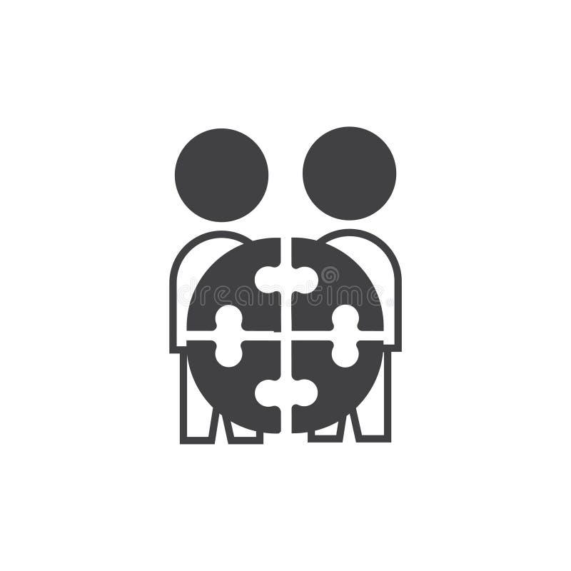 Team Project-Ikone Vektorzeichensymbol mit zwei Leuten vektor abbildung