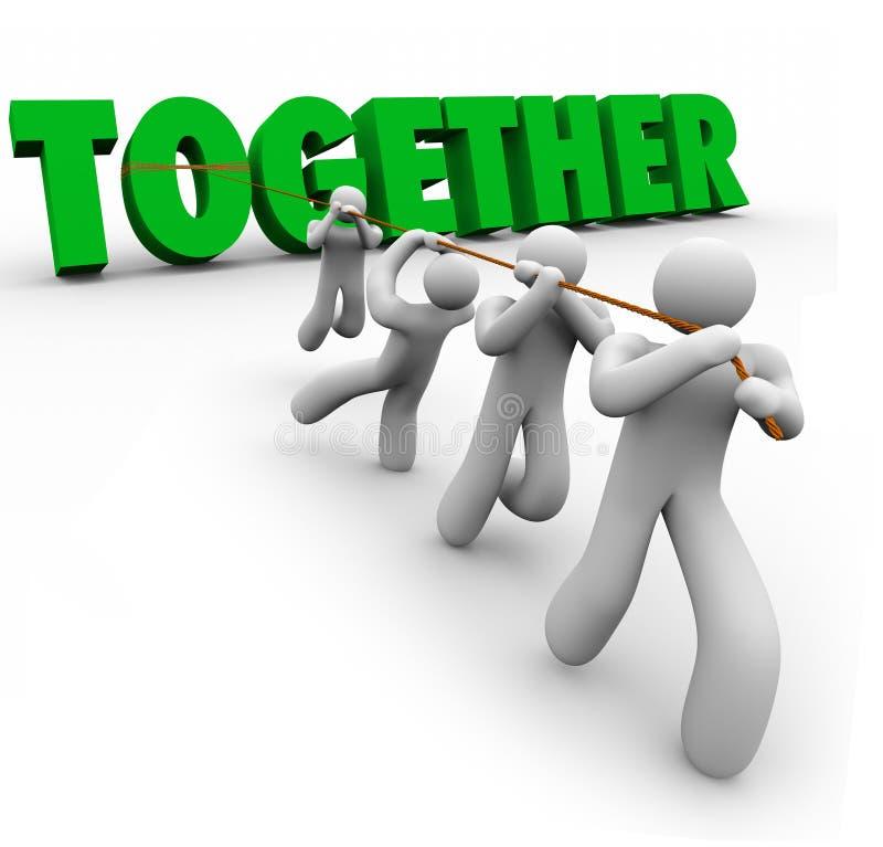 Team Puling Together Word Lifting 3d segna la forza con lettere nei numeri illustrazione di stock