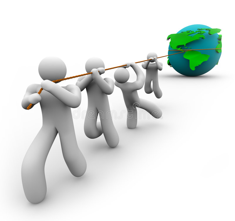 Team Pulling the World. A team works together to pull the Earth royalty free illustration