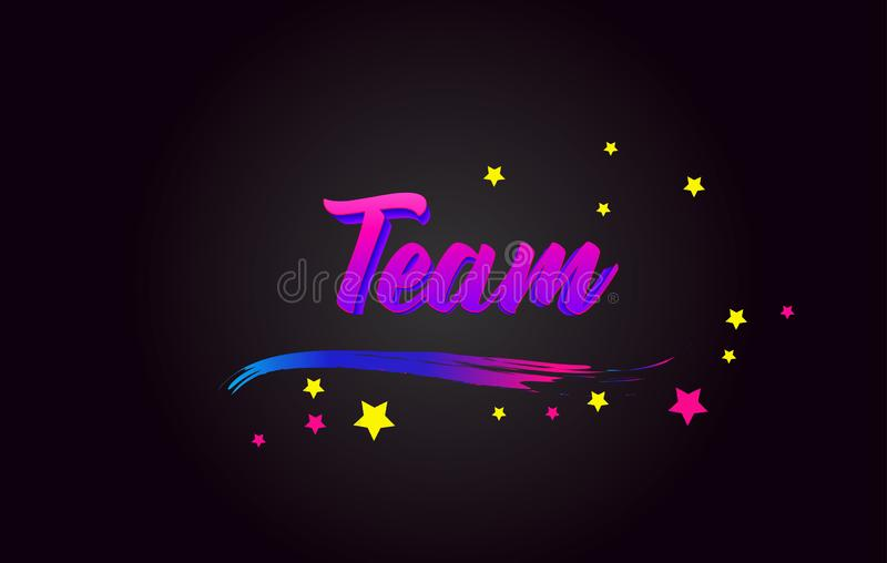 Team Purple Handwritten lettering typography. Word for logotype, badge, icon, card, postcard, logo, banner, tag Vector stock illustration