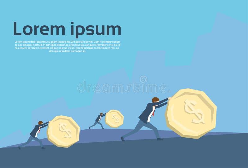 Team Push Coin Financial Crisis för affärsfolk begrepp royaltyfri illustrationer