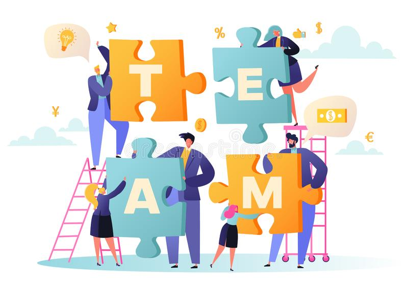 Vector illustration business teamwork concept. Flat people characters with pieces of puzzle vector illustration